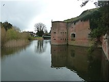 SU5902 : Fort Brockhurst - Moat around the keep by Rob Farrow