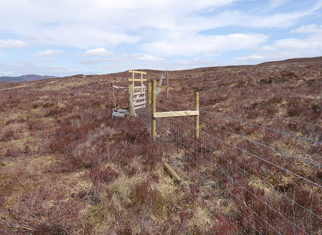 Exclosure fence, on moorland by Strath Marsley