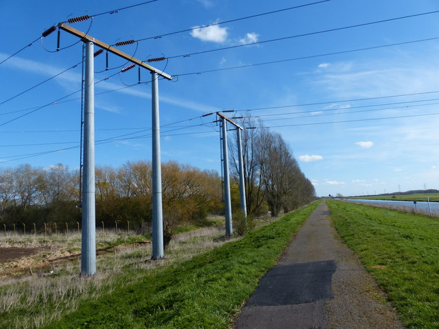 Power lines crossing the River Nene