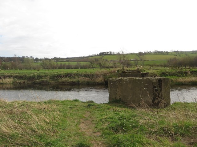 Piers of former bridge across the River Coquet