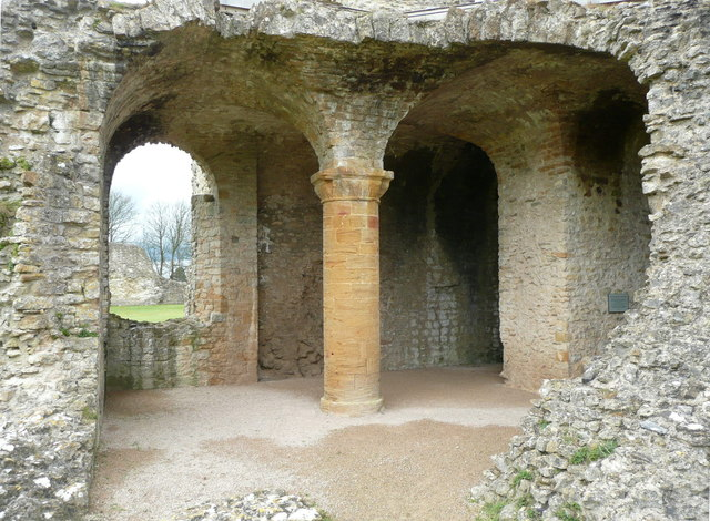 Pillar and vaulting, Sherborne Old Castle