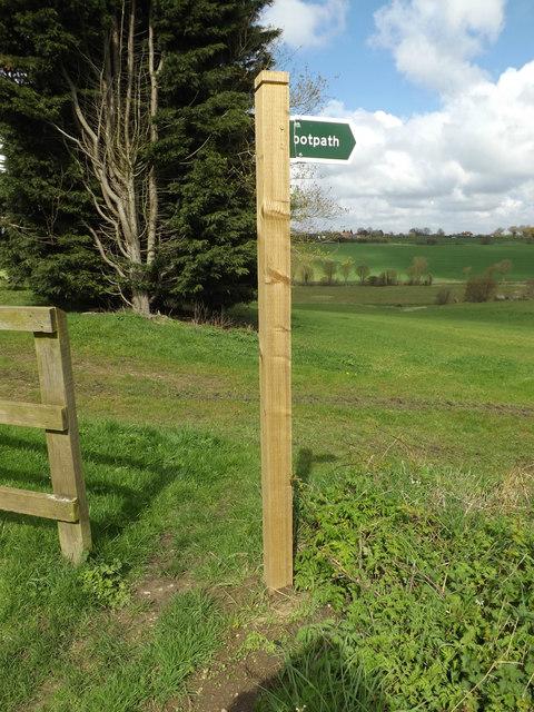 Footpath sign off Church Lane
