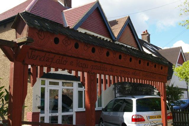 Traditional Hungarian gateway, Dorset Road, Elmers End