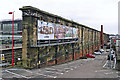 NY4055 : Wall at the back of Carlisle Railway Station by Rose and Trev Clough