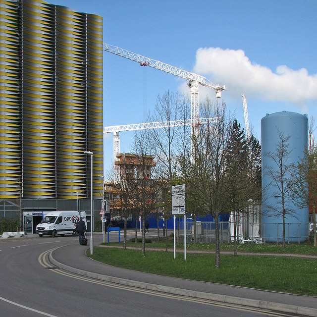Car park and cranes on the Cambridge Biomedical Campus
