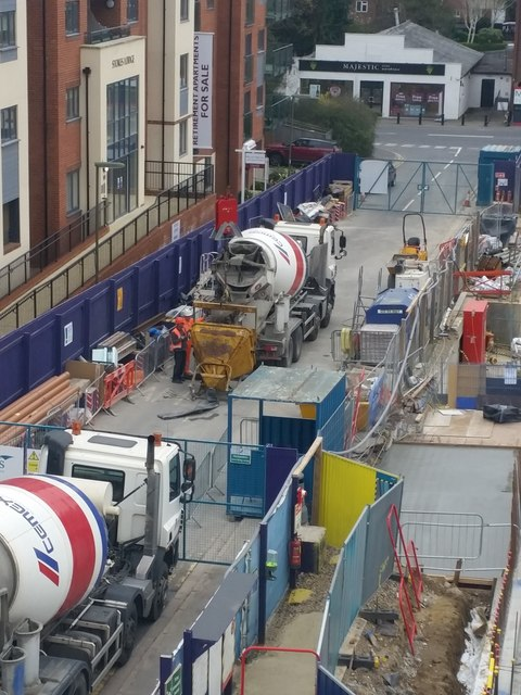 Filling the cement hopper, construction of Pembroke House, Camberley