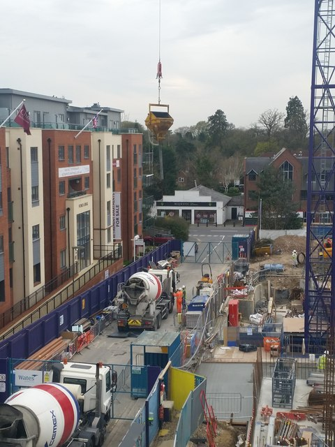 Hoisting the cement hopper, construction of Pembroke House, Camberley