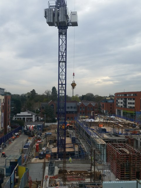 Delivering the cement hopper, construction of Pembroke House, Camberley