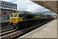 ST3088 : Freightliner train speeds through Newport station by Jaggery
