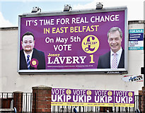 J3674 : Assembly election poster, Holywood Arches, Belfast (April 2016) by Albert Bridge