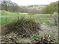 SE0928 : Logs and brushwood on the edge of the Queensbury Sewage Works site by Humphrey Bolton
