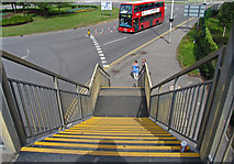 TQ0975 : Down the steps of footbridge across Hatton Road South by Andrew Tatlow