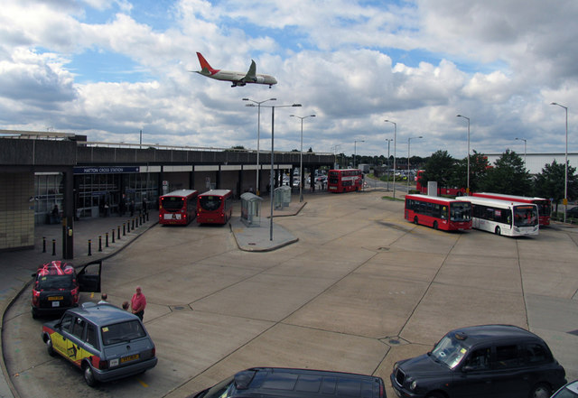 Hatton Cross Bus and Underground station from footbridge