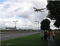 TQ0975 : Plane spotters young and old by Andrew Tatlow