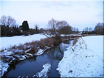 SK6515 : River Wreake towards Melton Mowbray on a snowy day by Andrew Tatlow