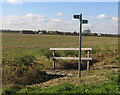 TL1789 : Footpath sign and bridge west of Fen Lane by Andrew Tatlow