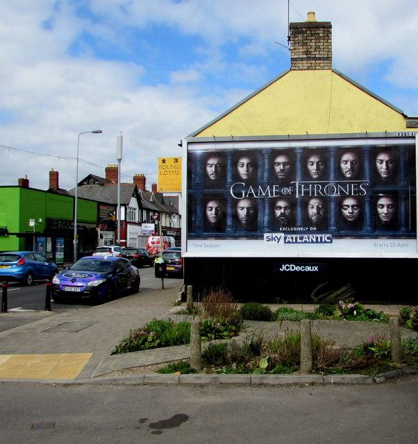 Game of Thrones advert on a Llandaff North side wall, Cardiff