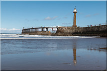 NZ8911 : West Pier Reflections, Whitby, Yorkshire by Christine Matthews