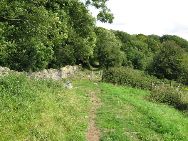 Cotswold Way through the gate-Haresfield, Glos
