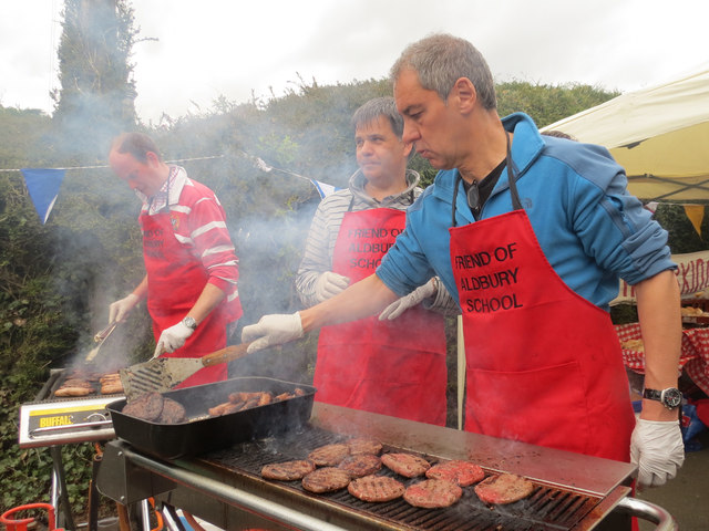 Friends of Aldbury School were running the Burger Stall