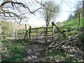 SE0325 : Footpath gate near the ruins of Hand Carr Mill, Luddendenfoot by Humphrey Bolton