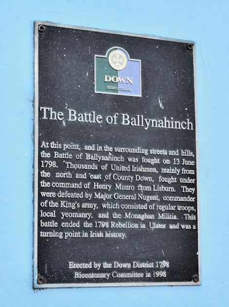 Battle of Ballynahinch plaque, Ballynahinch (May 2016)