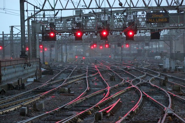 The railway tracks at the approach to Glasgow Central Train Station