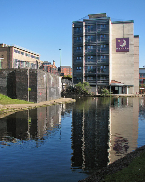 A Premier Inn reflected in the Nottingham Canal