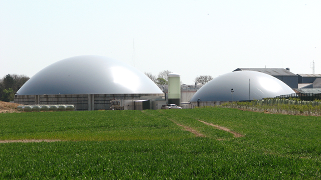 Domes of the anaerobic digester plant at Egmere