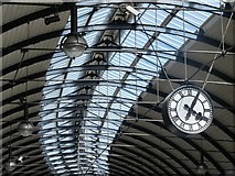 NZ2463 : Newcastle Central station roof and clock by Mike Quinn