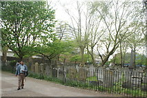 TQ3282 : View of graves in Bunhill Fields #13 by Robert Lamb