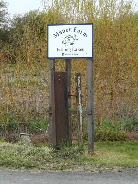 Manor Farm Fishing Lakes sign