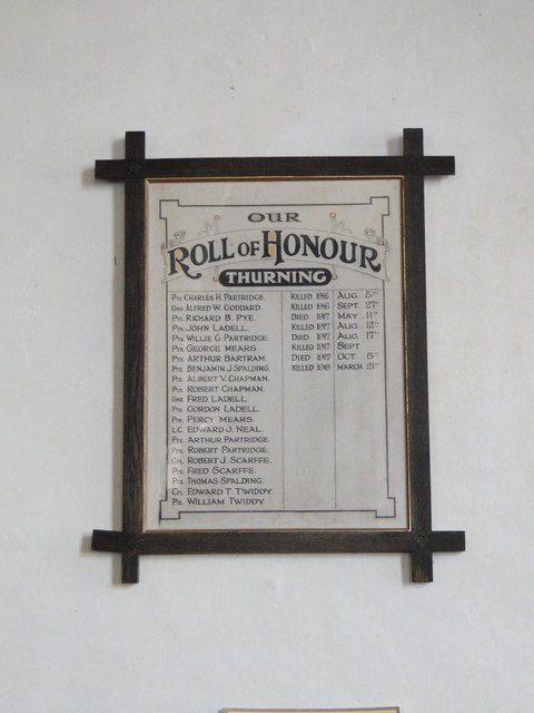 Thurning Roll of Honour