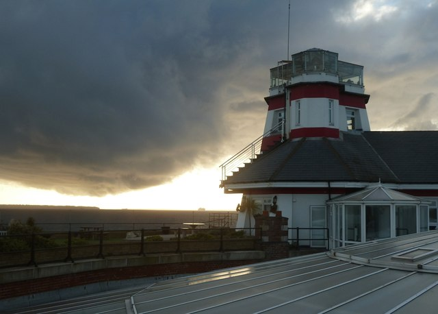 No Man's Land Lighthouse and dark clouds