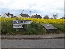 TM1551 : Church Meadow sign & grit bin by Geographer