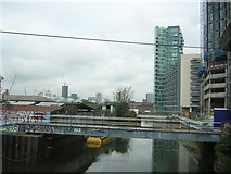TQ3783 : Looking along Bow Back River from the Bow Interchange by Christopher Hilton
