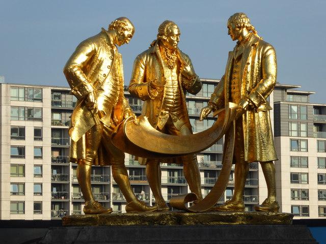 Statues of Matthew Boulton, James Watt and William Murdoch