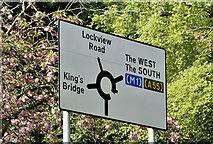 J3371 : Roundabout sign, Stranmillis, Belfast - May 2016(1) by Albert Bridge