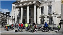 SE2934 : Leeds Space for Cycling ride 2015 - gathering (1) by Stephen Craven