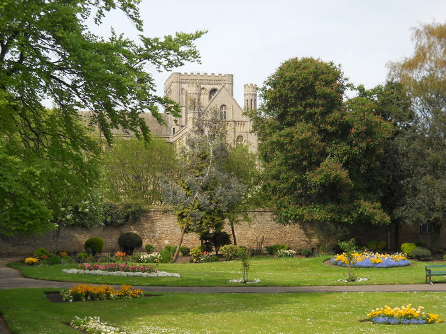 View of St. Peter's Cathedral, Peterborough, from Bishop's Road Gardens
