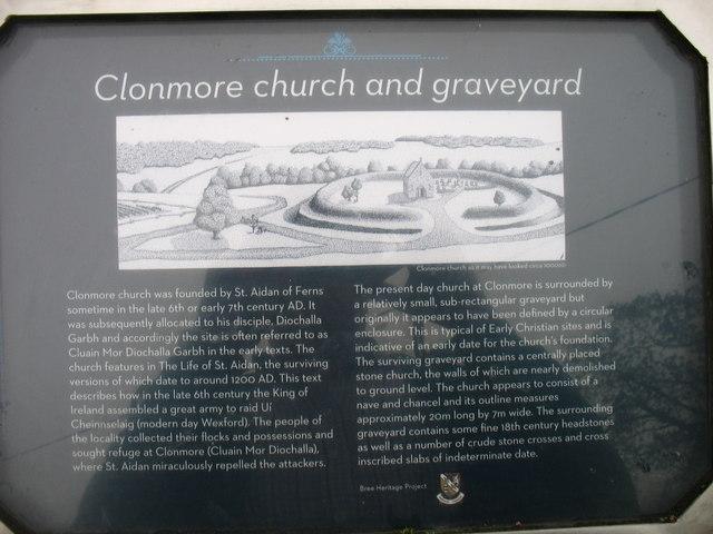 Clonmore graveyard plaque