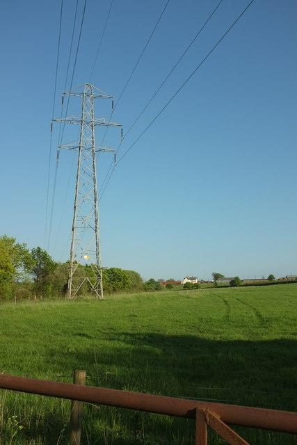 Pylon in field by Bodley Bridge
