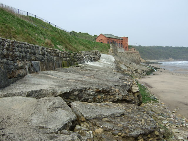 Shattered sea defences, Cayton Bay