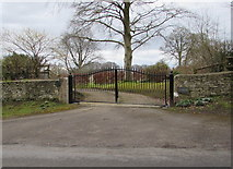 SO8700 : Woefuldane entrance gate near Minchinhampton by Jaggery