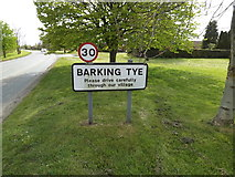 TM0652 : Barking Tye Village Name sign by Adrian Cable
