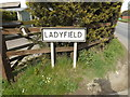 TM0652 : Ladyfield sign on the B1078 Barking Road by Adrian Cable