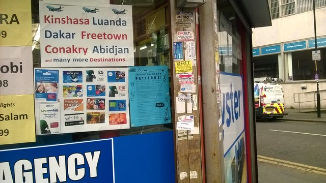 Destinations, phone cards and trade stickers, Brigstock Road, Thornton Heath