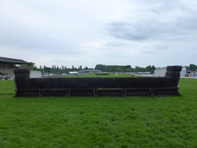 A fence on the chase course at Fakenham Racecourse