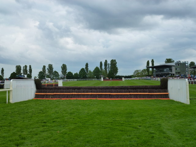 A horses view of a chase fence at Fakenham Racecourse