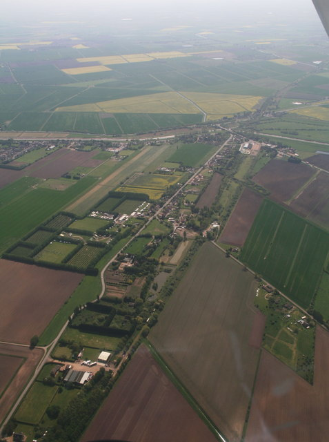 Guyhirn Gull, Gull Bank and former railway to Ring's End and River Nene: aerial 2016